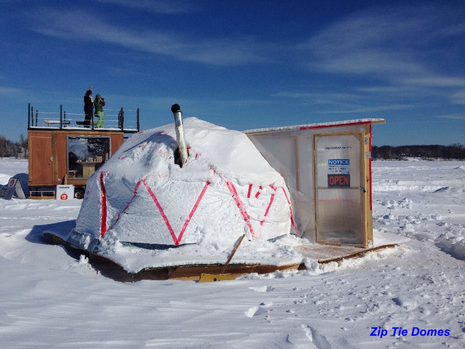 Allyson packer customer reviews of our geodesic domes for Ice fishing huts for sale